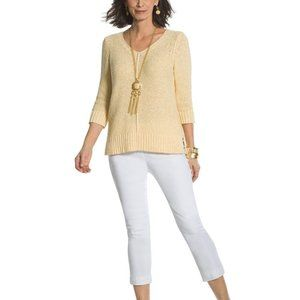 Chicos Sweater Size M 1 Yellow